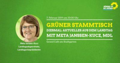 GRÜNER Stammtisch mit Meta Janssen-Kucz @ Grand Café am Stadtgarten
