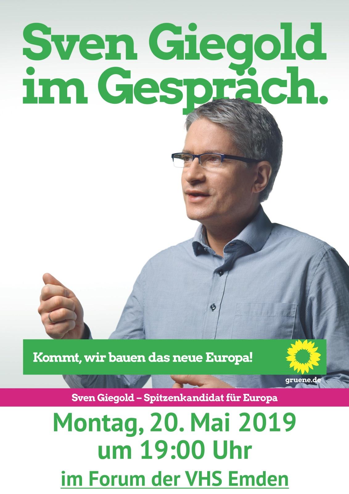 Sven Giegold im Gespräch Montag, 20. Mai 2019 um 19:00 Uhr im VHS-Forum